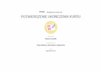 Maciej Kozubik youtube preprodukacja