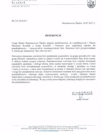 Referencje Urząd Miasta Siemianowice Śląskie - Grupa Kozubik i Partnerzy