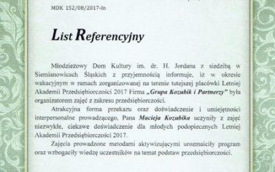 List referencyjny Młodzieżowego Domu Kultury