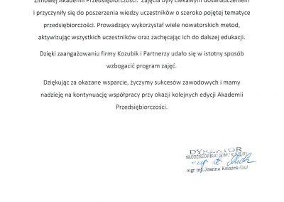 Zimowa Akademia Przedsiębiorczści Maciej Kozubik Grupa Kozubik i Partnerzy