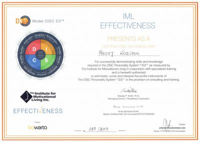 Disc certyfikat Maciej Kozubik